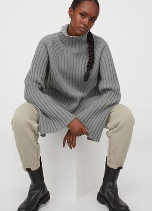 Шерстяной свитер h&m premium selection из 100% шерсти