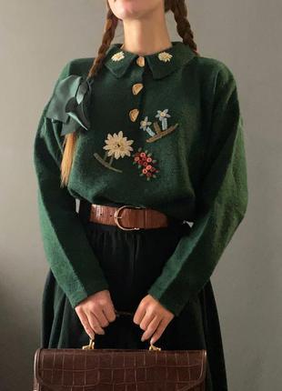 Винтажная зеленая кофта свитер отложной воротничок ручная вышивка vintage retro
