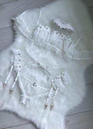 Шикарный свадебный набор белья, пояс для чулок в комплекте