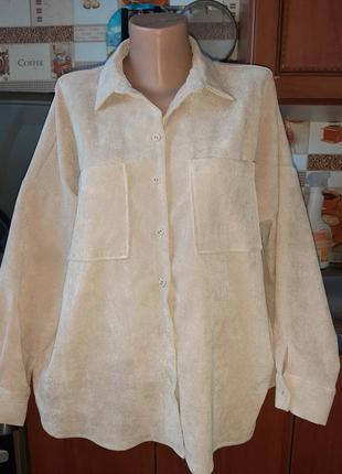 Стильная рубашка викровельвет оверсайз zara! размер 48-50