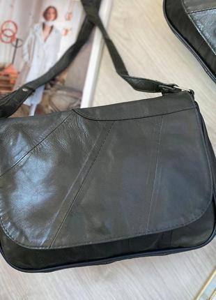 Натуральная кожа хаки зелёная кожаная сумка через плечо сумочка клатч кроссбоди
