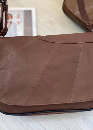 Натуральная кожа коричневая кожаная сумка через плечо сумочка клатч кроссбоди
