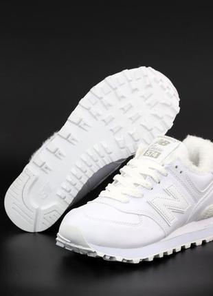 Белые женские кроссовки на меху нью баланс