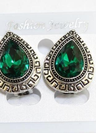 Клипсы с зеленым кристаллом