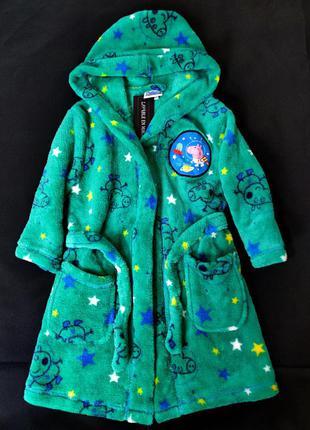 Брендовый мягкий плюшевый теплый халат с капюшоном свинка пеппа peppa pig miniclub этикетка