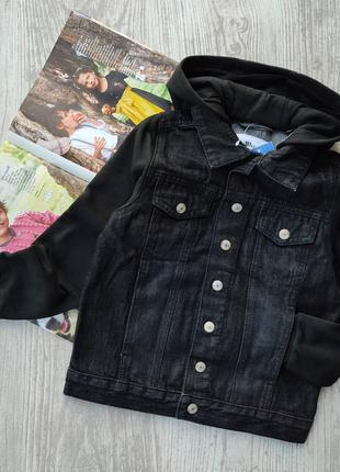 Джинсовая курточка с трикотажными рукавами с начёсом, куртка