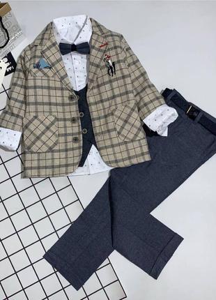 Шикарный костюм 6ка для мальчика 110-128(в описании 4 цены)