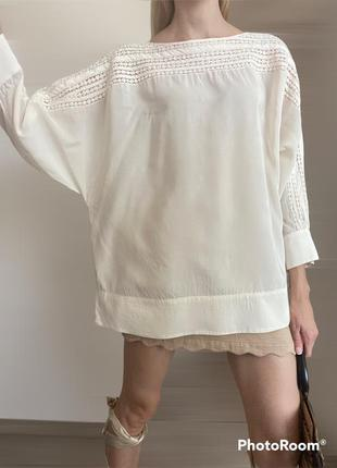 100% шёлк. jaeger блуза молочного цвета