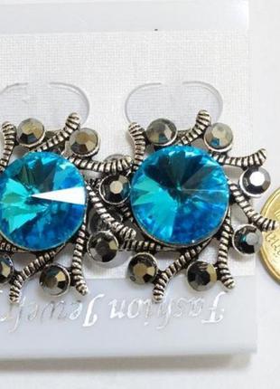Клипсы с голубыми и серыми кристаллами