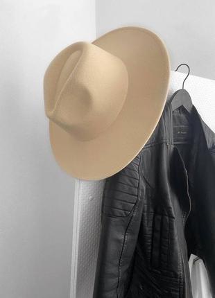Бежевая панама 👒 женская шляпа молоко шляпа с прямыми полями