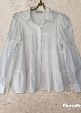 100% хлопок. белая рубашка необычного кроя распашонка для беременной