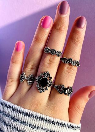 Набор колец 5 витые черные камни подсолнухи / большая распродажа!