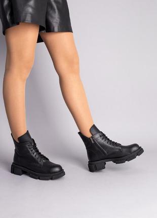 Кожаные ботинки женские черные демисезонные