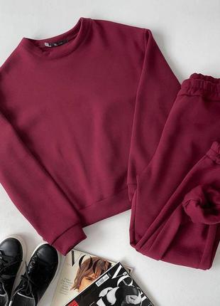 Базовый женский спортивный костюм на флисе теплый кофта свитшот и штаны джоггеры разные цвета