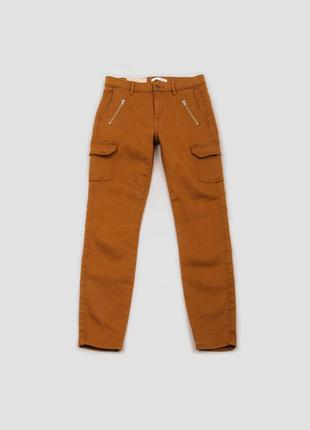 Брюки коричневые с накладными карманами скинни camaieu