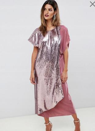 Шикарное вечернее бархатное платье миди с пайетками.