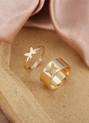 Набор колечек 2 штуки бабочки золотистый цвет / большая распродажа!