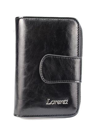 Женский кожаный кошелек маленький черный lorenti 76115-bpr black
