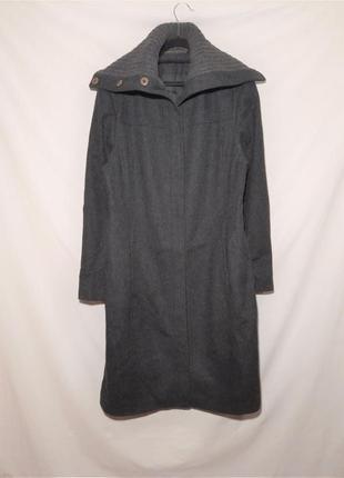 Натуральное шерстяное длиное пальто с высоким вязанным воротником