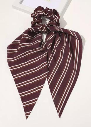 Резинка-платок бордовая в полоску тренд лета 2021 / большая распродажа!