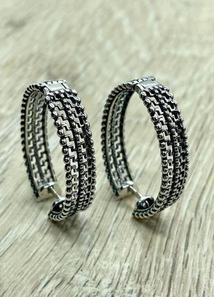 Ажурные серебряные серьги 925 пробы, кольца
