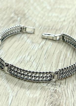 Серебряный браслет, ажурный, 925, черненое серебро
