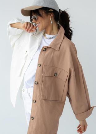 Двухцветная куртка-пиджак с накладными карманами