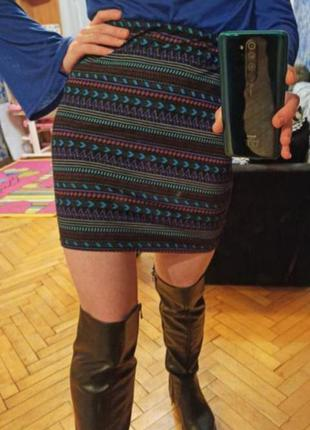 Фирменная юбка узкая мини стрейч
