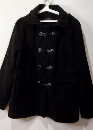 Чёрное пальто короткое женское в стиле милитари осеннее теплое фирменное new look с капюшоном