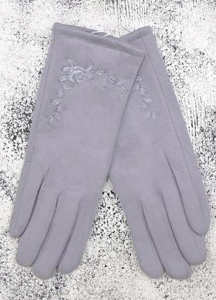 """Женские перчатки """"rose"""" светло-серые"""