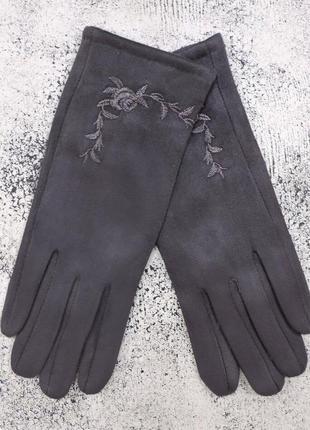 """Женские перчатки """"rose"""" темно-серые"""