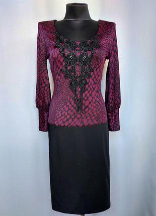 Суперцена. стильное комбинированное платье. турция. новое, р-ры 42-50