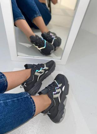Кроссовки adidas ozweego dark grey/mint