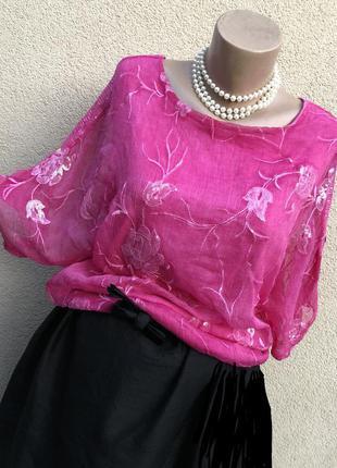 Шелк100%,розова блуза реглан,вышивка пайетки,этно бохо стиль,италия
