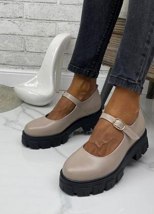 Женские туфли на платформе натуральная бежевая кожа