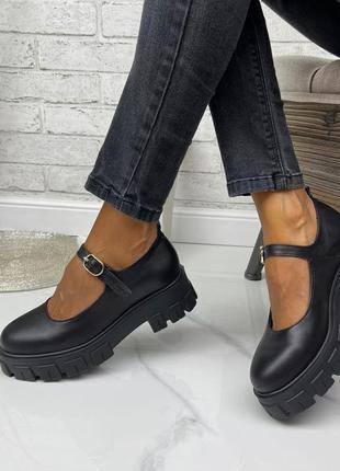 Женские туфли на платформе черные натуральная кожа