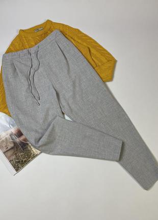 Серые брюки высокая посадка/ зауженные к низу