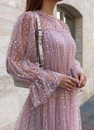 Нежное фатиновое платье миди с пайетками 🌷
