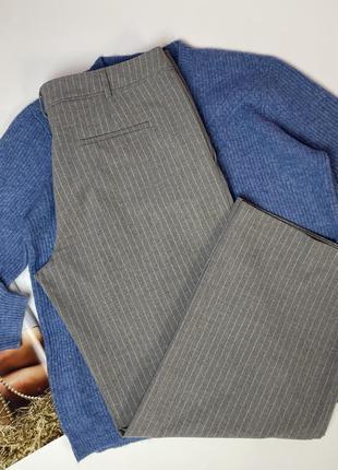 Тёплые серые брюки высокая посадка/ прямые к низу батал