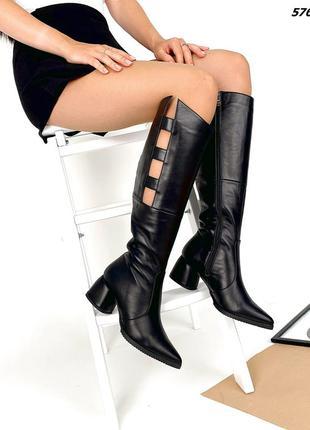 Код 5763 черные кожаные сапоги сапожки glori на каблуке 5,5см