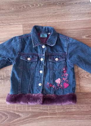Джинсовка джинсовая куртка для девочки с мехом
