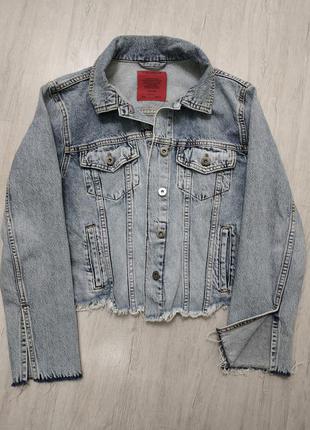 Мега крутая джинсовая куртка джинсовка м- л pull&bear