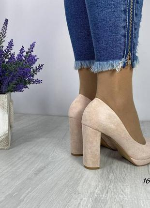 Замшевые туфли круглый носок