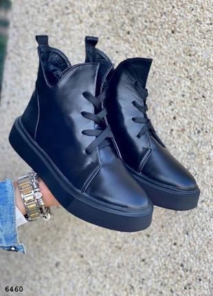 Черные и белые кожаные женские ботинки, высокие кеды, на шнурках, недорого, люкс качество, р. 36-40