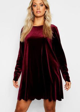 Boohoo платье балахон велюр велюровое новое бордо винное миди большое батальное оверсайз
