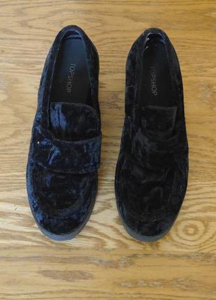 Туфлі бархатно-плюшеві чорні розмір 40 стелька 25,6 см topshop