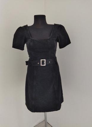 Чёрное плотное джинсовое платье denim co