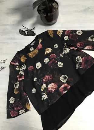 Шифоновая кофта в цветочный принт