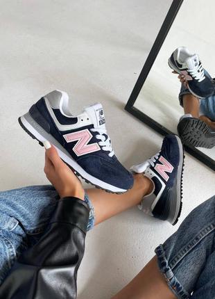 Женские кроссовки new balance dark blue / pink