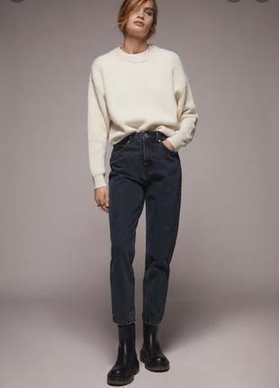 Zara джинсы mom темно-синие 44 размер